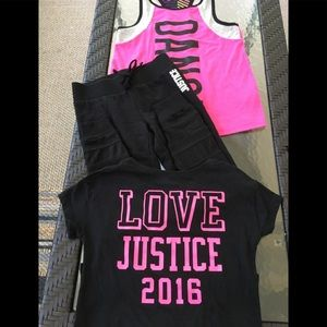Justice leggings and 2 tops